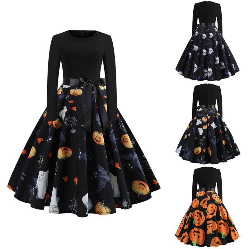 Fancy Pumpkin Printed Halloween Dress Long Sleeve Mid Length Princess Swing Dress Ladies Costume for Festival Party M-XXL 1