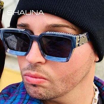 SHAUNA Oversize Square Sunglasses Men Flat Lens Brand Designer Fashion Women Blue Mirror Shades