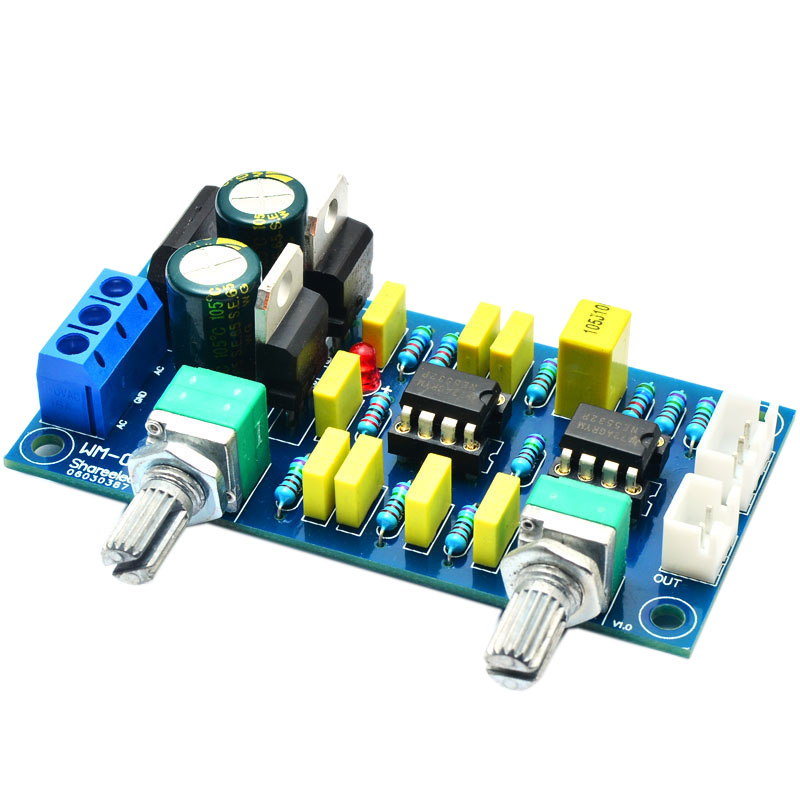 FULL-Low Pass Filter Bass Subwoofer Pre-Amp Amplifier Board Dual Power Low Pass Filter Bass Preamplifier