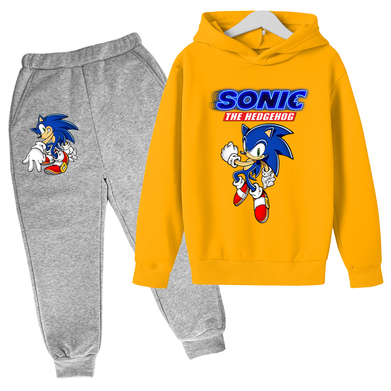2021Big Boys anime Clothing Suit Anime Sonic the Hedg Tracksuit Kids Hoodie Pants 2pcs Sets Baby Girl Christmas Outfit 4