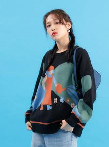 Image 3 - Streetwear Sweater Women 2020 Autumn Winter Cartoon Leopard Printed Covering Yarn Casual Oversized Knitted Black Pullover Sweate