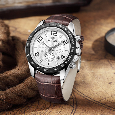 Mens Watches Top Luxury Brand Fashion Sport Men 39 s Wristwatch Leather Quartz Military Watch Men Dispaly Date Week Clock in Quartz Watches from Watches