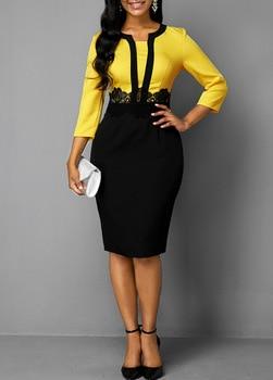 Plus Size Women 2019 Autumn Retro Yellow Stitching Large Size Dress Ladies Round Neck Casual 3/4 Sleeve Slim Bag Hip Step Dress 2