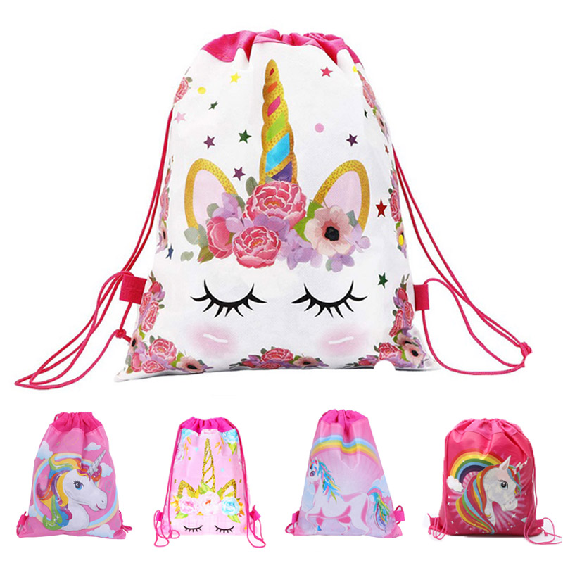 1pc Cotton Unicorn Print Bag For Girls Kids Toys Soft Plush Drawstring Backpack For Children Toys Storage Bag Schoolbag For 1kg