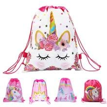 Bolsa de algodón con estampado de unicornio para niñas y niños, juguetes de felpa suave, mochila con cordón ajustable para juguetes para niños, bolsa de almacenamiento, Bolsa Escolar para 1kg 1 unidad