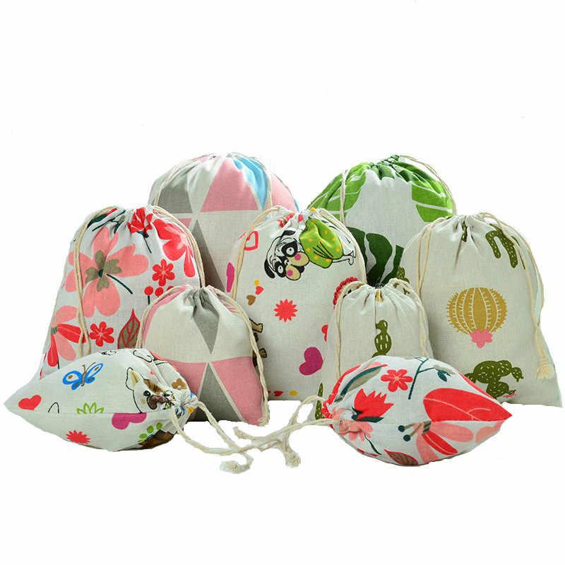 18 색 새로운 나무 그레인 Drawstring 면화 린넨 저장 가방 선물 사탕 차 보석 주최 메이크업 화장품 동전 키 가방
