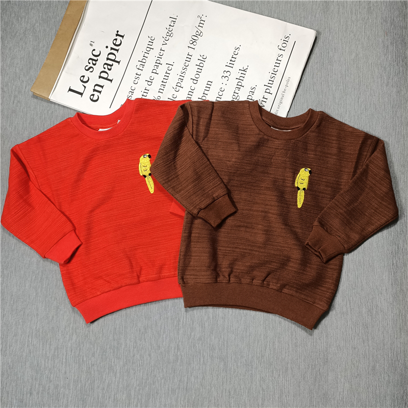 yellow parrot sweaters red/brown for  kids boys girls autumn 2