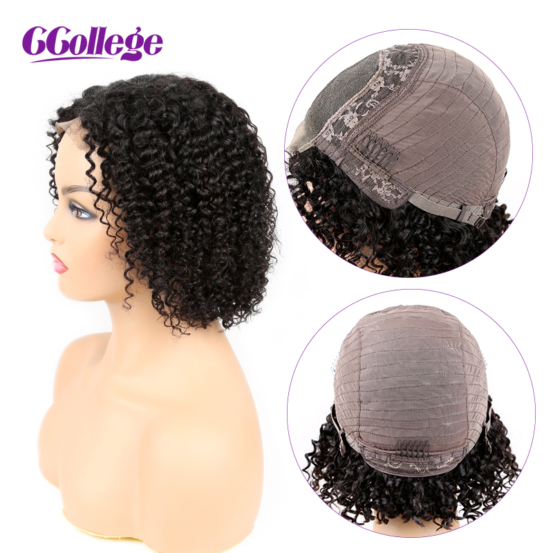 4X4 Closure Wig Kinky Curly Wig Pre Plucked With Baby Hair Brazilian Lace Closure Wig Non Remy Human Hair Wigs For Black Women