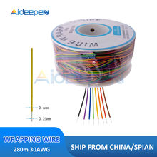 8 kolorów 280m 30AWG owijanie drutu konserwy z miedzi z PCB kabel Breadboard Jumper izolacja elektroniczne złącze żyłowe przewodu
