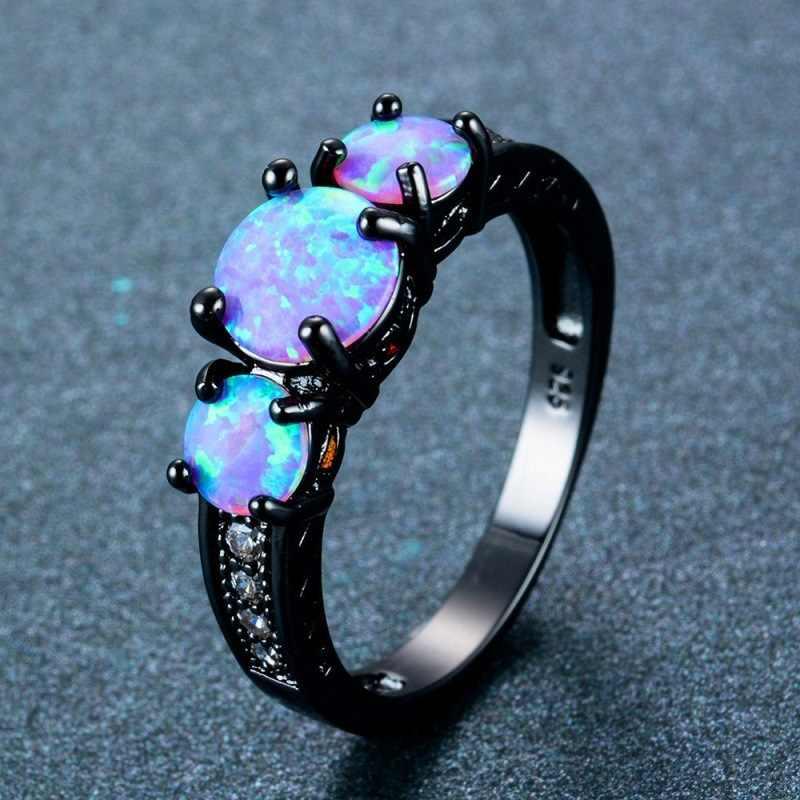 Disegno della cavità Ovale Arcobaleno di Fuoco Blu Opale Anello Dei Monili Per Le Donne In Titanio Nero di Nozze Anelli Di Fidanzamento