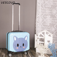 VESCOVO 16inch Children cartoon boarding trolley suitcase women carry on travel bag ABS rolling luggage spinner universal wheel