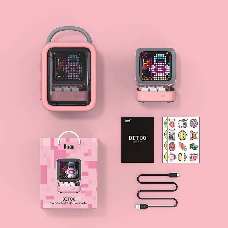 Divoom Ditoo Speaker Bluetooth Portable Mini Sound Box Alarm Clock Music Box LED Screen Night light Online Radio By APP Pixel Ar 6