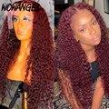 Бордовый 99J парик блонд имбирный оранжевый кудрявый вьющийся парик на шнуровке передние человеческие волосы парики бразильские волосы Рем...