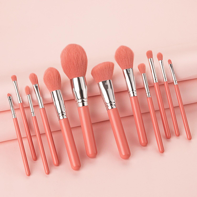 Professional 12pcs Makeup Brushes Set Big Loose Powder Foundation Eyeshadow Eyeliner Eyebrows Eyelashes Contour Makeup Brushes