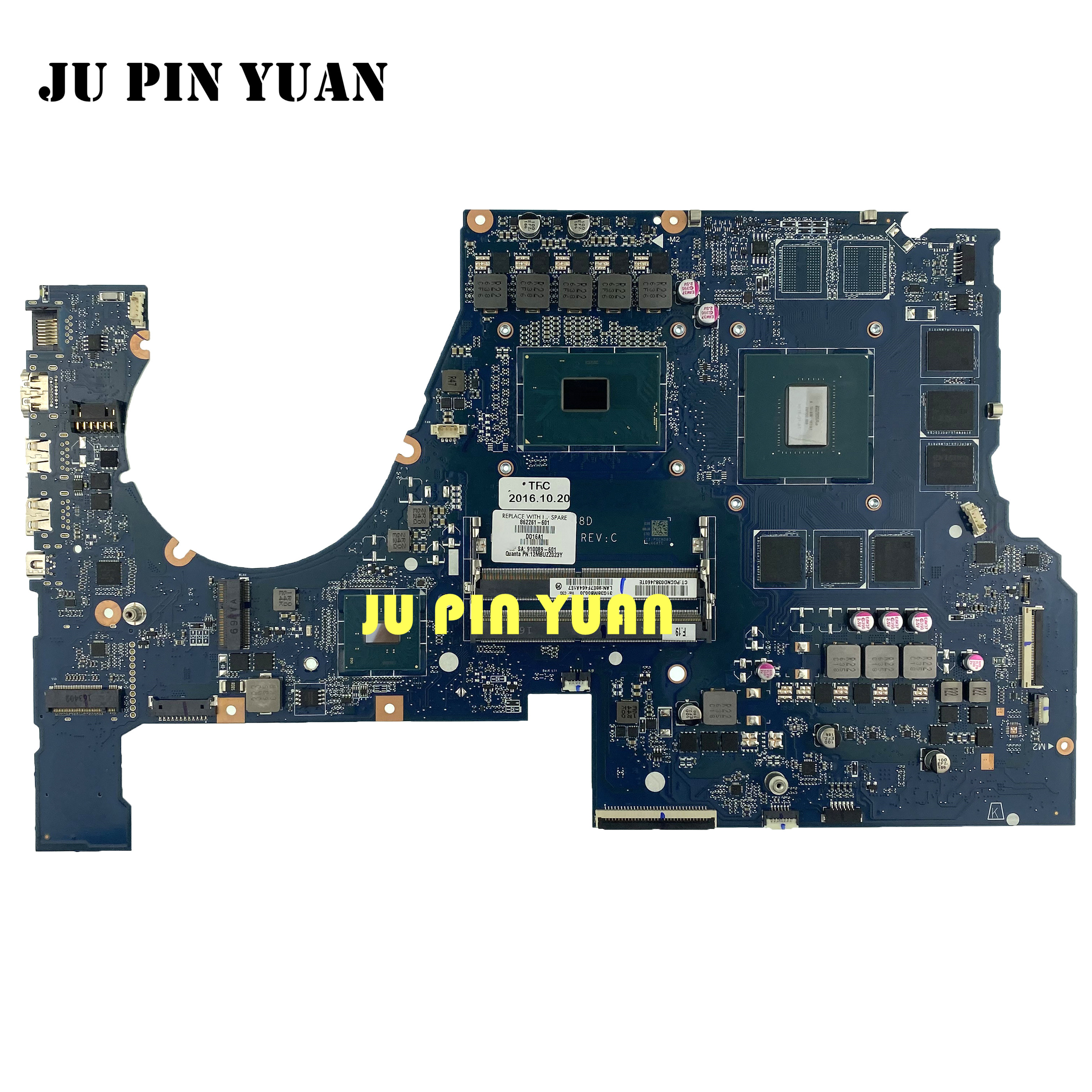 For HP OMEN 17-W 17-W151NR Laptop motherboard 862261-601 862261-001 DAG38DMBCC0 with <font><b>SR2FQ</b></font> <font><b>I7</b></font>-<font><b>6700HQ</b></font> GTX1060 6G fully Tested image