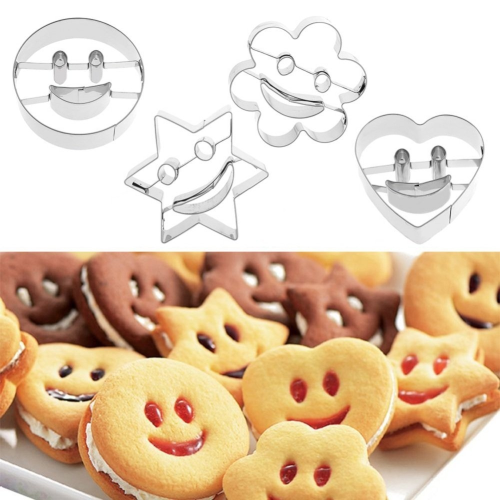 4 piece smiley stainless steel cookie cutter Biscuit mold Fondant cake mold baking tools