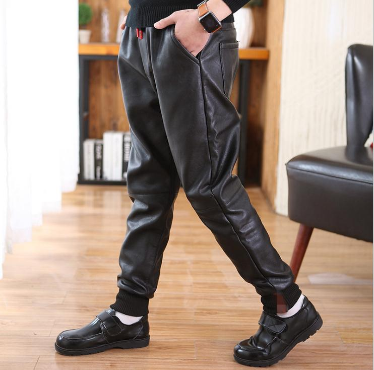Children's winter trousers casual style Pu leather pants warm boys pants for 12Y black thick unisex mid kids trousers promotion 5
