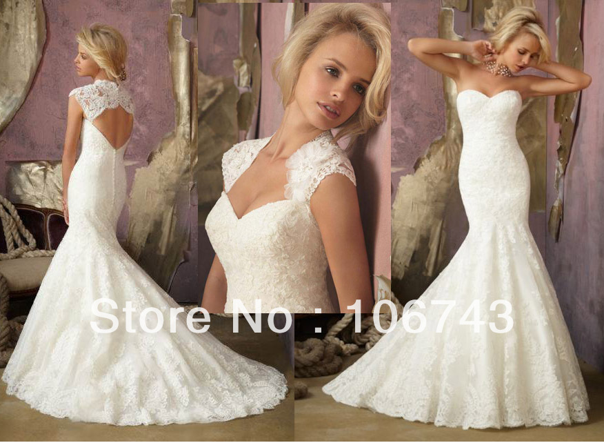 Dress Free Shipping Theme 2016 New Lace Mermaid Bridal Gown Wedding Dresses Custom Size