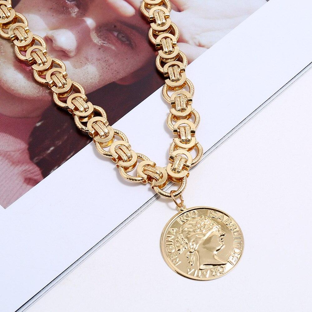 Горячее предложение, ожерелье в стиле ретро с увеличенной головкой для монет, последняя мода 2020, большая цепочка с подвеской на цепочке, Новое Стильное ожерелье|Ожерелья с подвеской|   | АлиЭкспресс