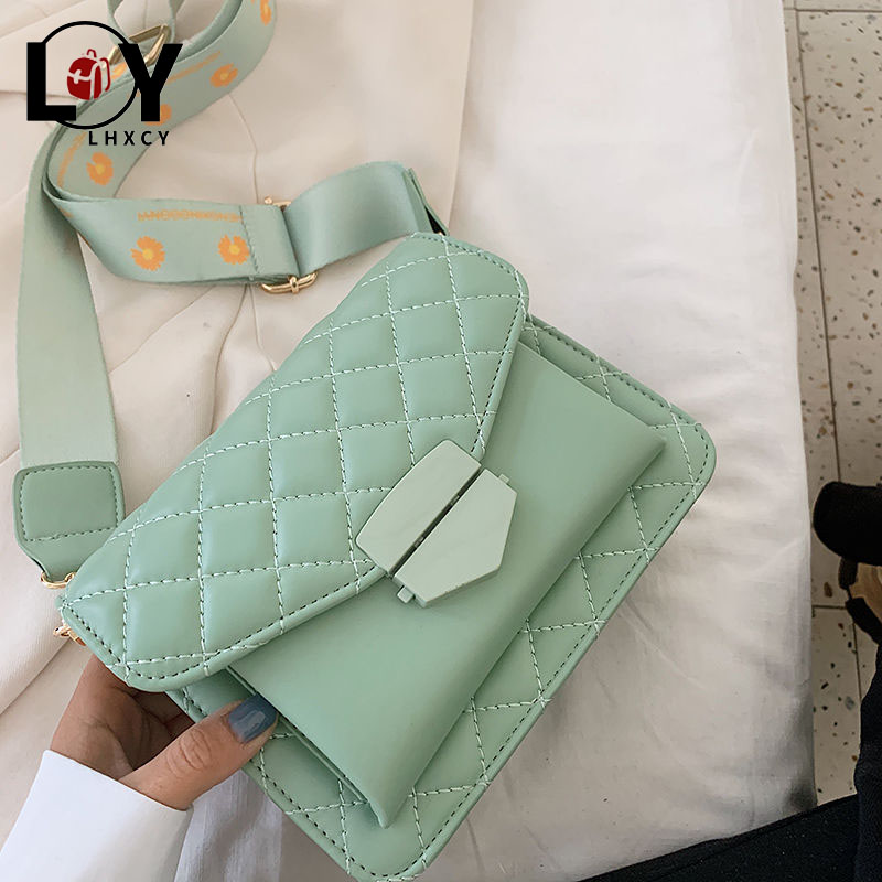 Luxury Designer Lattice Shoulder Bags Cross Body Bags Forwomen Solid Color Sewing Square New Fashion Pu Leather Ladies Hand Bags