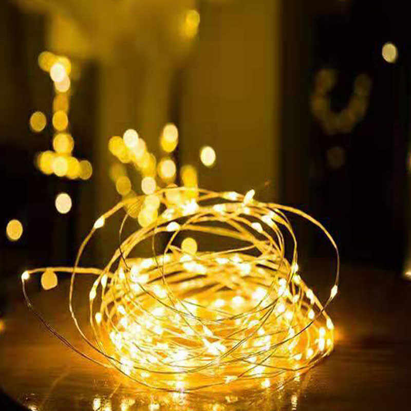 Christmas Lights Garland LED String Fairy Light Battery Operated Decorative LED Lights Street Wedding Party New Year Decoration HHF LED Bulbs Lamps Emitting Color : 5M USB, Wattage : Bule