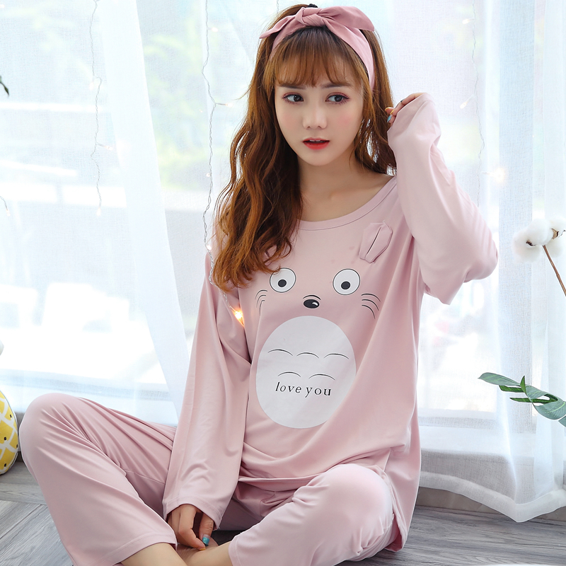 spring autumn Women   pajama     set   cute pink cartoon print sleepwear womens   pajamas   long sleeved home clothing pijama free shipping