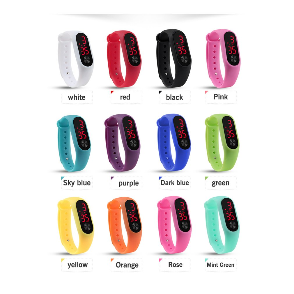 Men Women Casual Sports Bracelet Watches White LED Electronic Digital Candy Color Silicone Wrist Watch for Children Kids 1