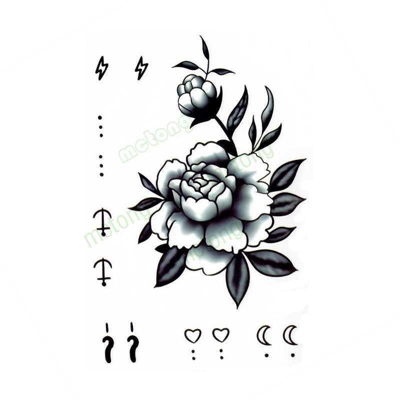 New Tatoo Rose Flower Star Moon Hand Arm Cover Simulation Harajuku Tatouage Waterproof Temporary Flash Faketattoo Sticker Temporary Tattoos Aliexpress