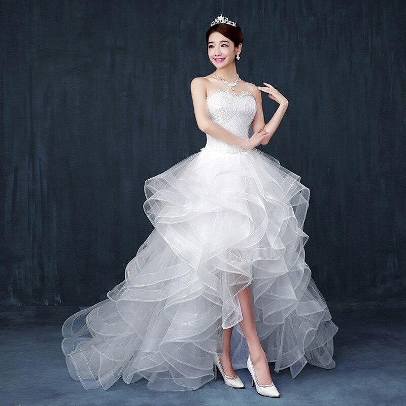 YULUOSHA Sexy Wedding Dress 2020 Strapless Sleeveless Brush Train Lace Up Floor-Length New Wedding Dresses Vestido De Noiva