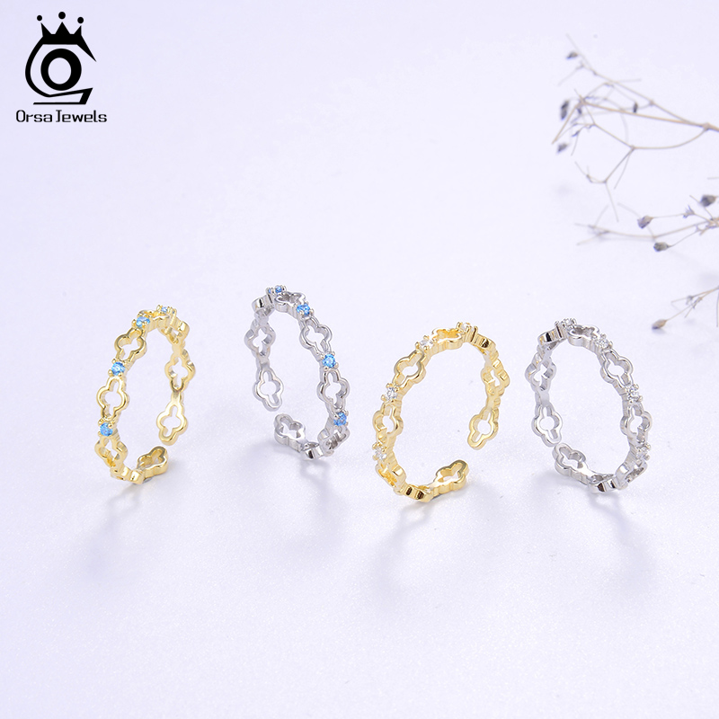 Image 4 - ORSA JEWELS Real 925 Silver Resizable Rings for Women 4 Colors Optional AAAA CZ Stacking Hollow Rings Clover Jewelry SR140Rings   -
