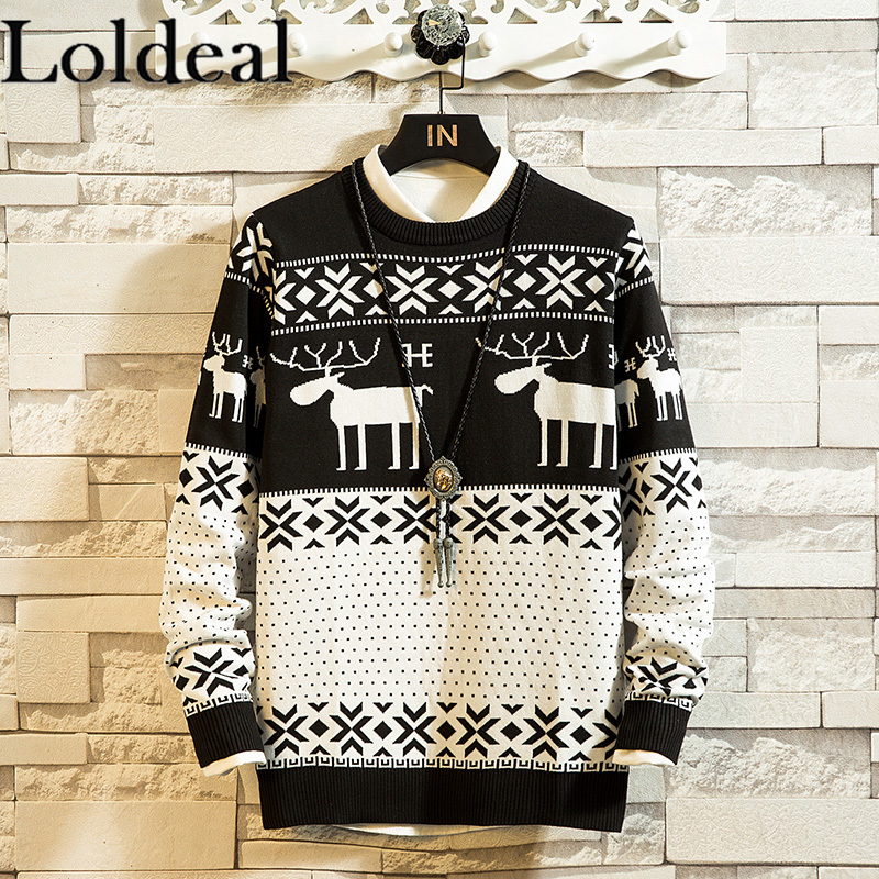 Loldeal Men Causal O Neck Sweater Deer Printed Autumn Winter Christmas Pullover Knitted Jumper Sweaters