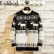 цена на Loldeal Men Causal O Neck Sweater Deer Printed Autumn Winter Christmas Pullover Knitted Jumper Sweaters