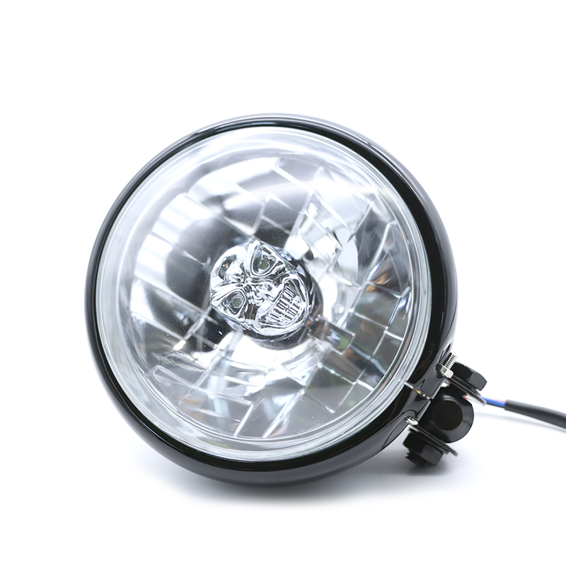 JIUWAN 12v Universal Motorcycle Round Skull Headlight High /Low Beam HeadLamp For Harley Dyna Honda VT|  - title=