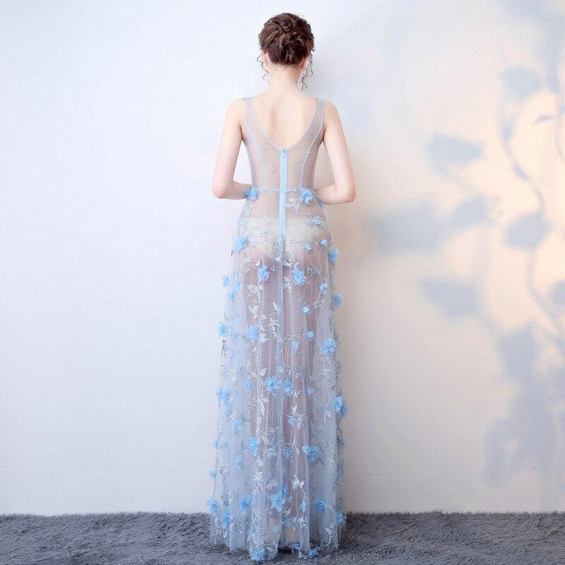 Sexy See-through Dress Gauze Lace Deep V-neck Nightclub WOMEN'S Dress Work Wear Evening Show Costume Long Formal Dress
