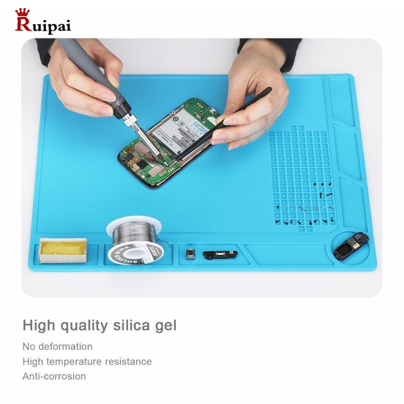 34cm X 23cm Silicone Insulation Pad Thermostable Anti-corrosive Watch Repair Work Pad Mat Soldering Station Tool For Watchmaker