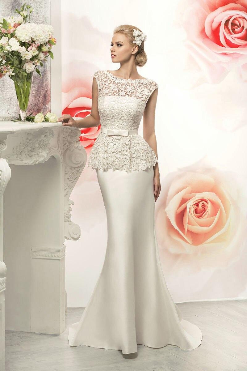 Vestido De Novia 2015 Custom Made White/Ivory Lace Belt Mermaid Wedding Dresses Robe De Mariage Bride Dress