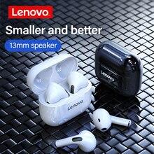 Lenovo auriculares inalámbricos LP40 con TWS, por Bluetooth 5,0, auriculares IP54 impermeables estéreo de graves, Auriculares deportivos con micrófono