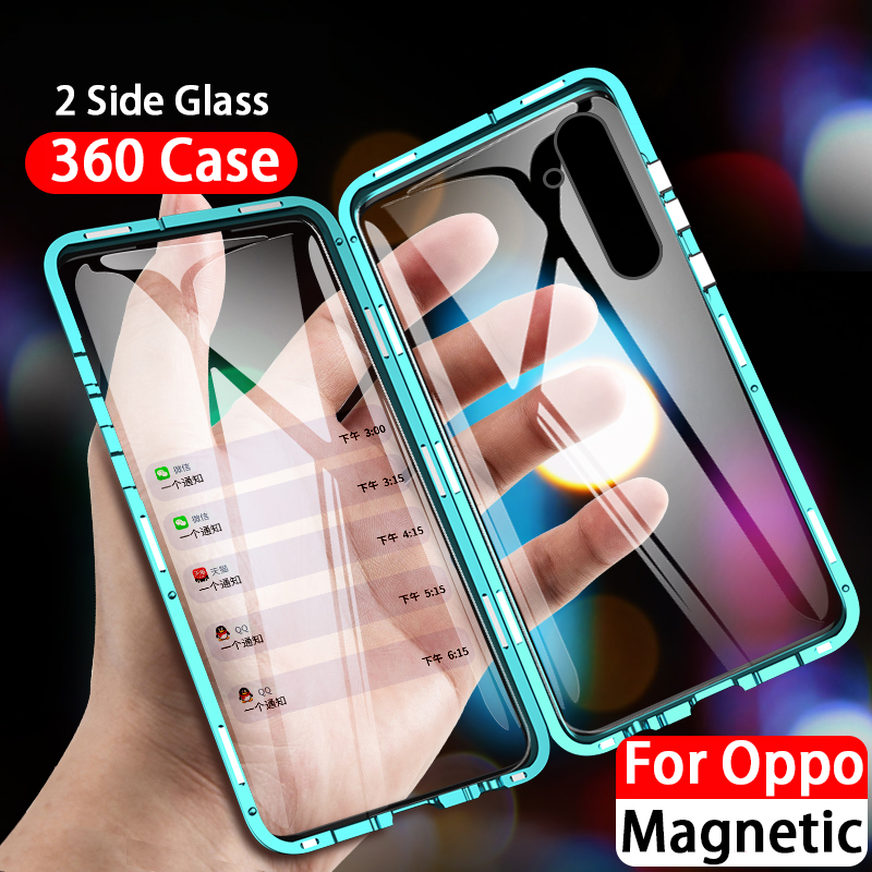 360 Tempered <font><b>Glass</b></font> Magnetic Phone <font><b>Case</b></font> For <font><b>Oppo</b></font> Realme X50 Q5 X2 Pro Reno Ace A11X <font><b>A3s</b></font> A5 A9 2020 A5s A7 F9 V17 Pro Y17 Y3 image