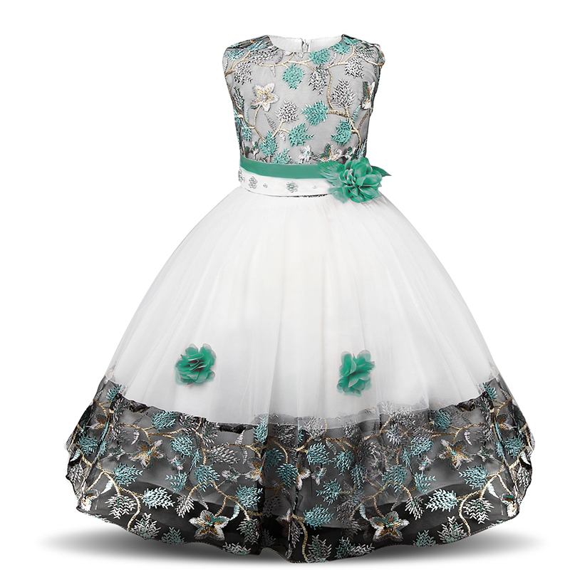 H6a6d08f3308e4ed1b7eafa9c0169ed77Z Girls Princess Kids Dresses for Girls Tutu Lace Flower Embroidered Ball Gown Baby Girls Clothes Children Wedding Party Dress