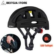 Cairbull capacete dobrável certificado ce, capacete de segurança portátil para bicicleta, dobrável com lanterna traseira, cidade, casco 2019