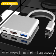 3 in1 USB Type C to Hdmi-compatible Converter Adapter for Macbook Notebook Monitor 3.0