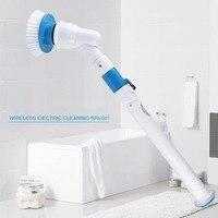 Ferramentas de carregamento do agregado familiar rotação automática escova de limpeza do banheiro elétrico sem fio 120 graus poeira remover punho telescópico|Escovas de limpeza| |  -