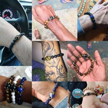 Charm Bracelet for Men Fashion Luxury Antique crown High quality Tiger eye stone bead Bracelets Jewelry Male Pulseira bileklik 2