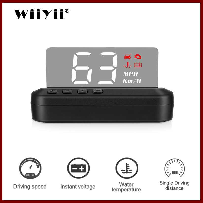 C100 HUD Display Intelligent Alarm System Universal  Windshield Projector Driving Safety OBD2 Overspeed Warning