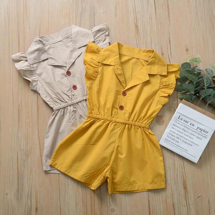 New Newborn Baby Clothes Girls Romper Cute Solid Color Turn-down Collar Sleeveless Spring Cotton Kid Jumpsuit Outfits Clothing