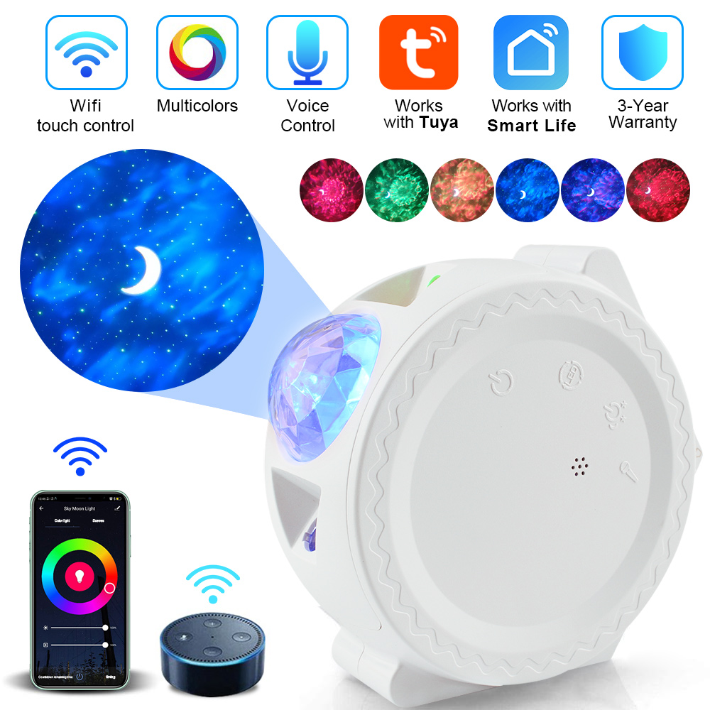 Wifi Remote Star Starry Sky Night Light Ocean Wave Projector Water Wave Novelty Lighting Moon Lamp For Children Kids LED Nebula