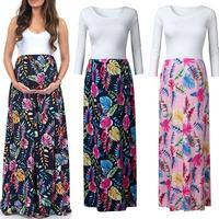 2019 Hot Sale New Maternity Dress Women's Pregnant Splicing Maternity Long sleeves Strap Print Leaf Long Dress Size S,M,L,XL,XXL