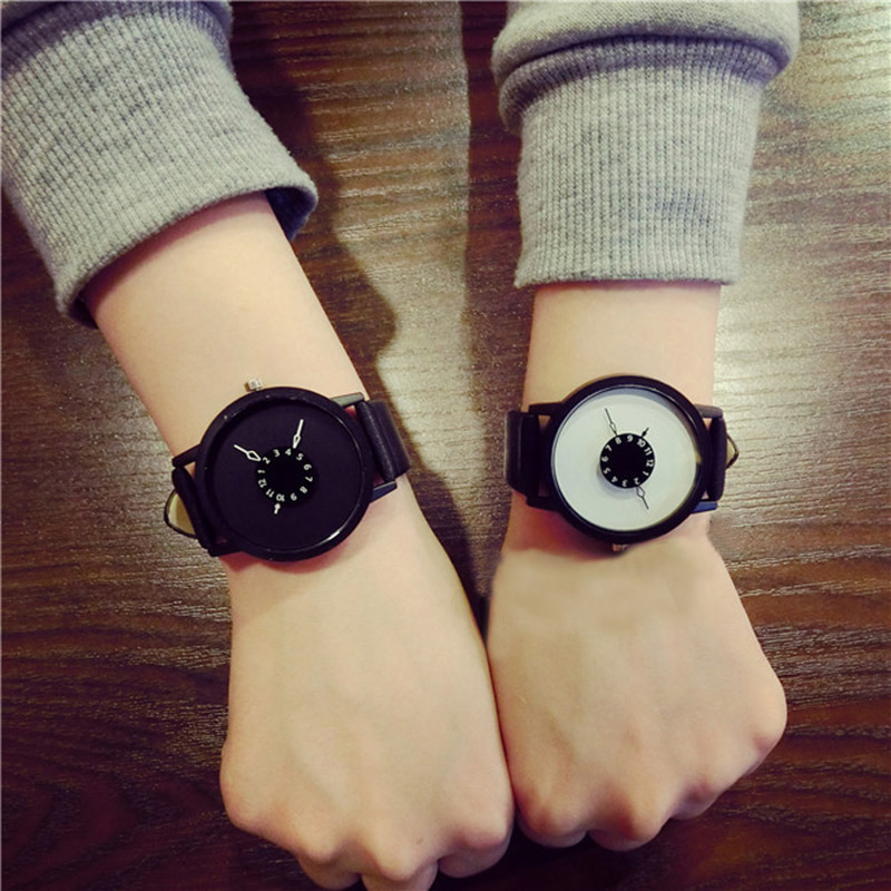 Hi Simple Fashion Korean Lovers Couple Quartz Watch Leather Clock Men And Women Wristwatches Personality Student Watches