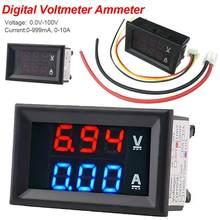 Voltímetro de alta calidad, amperímetro azul + rojo LED Amp doble Digital, medidor de voltímetro DC 100V 10A