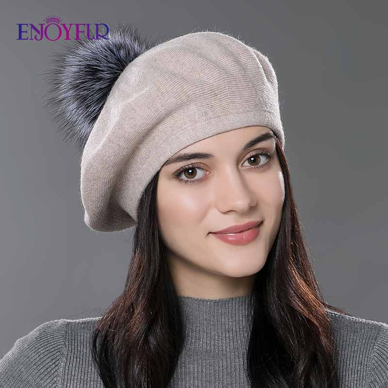 Winter Christmas House Town Hand Made Beret Fairy Tale Wool Beret Hat